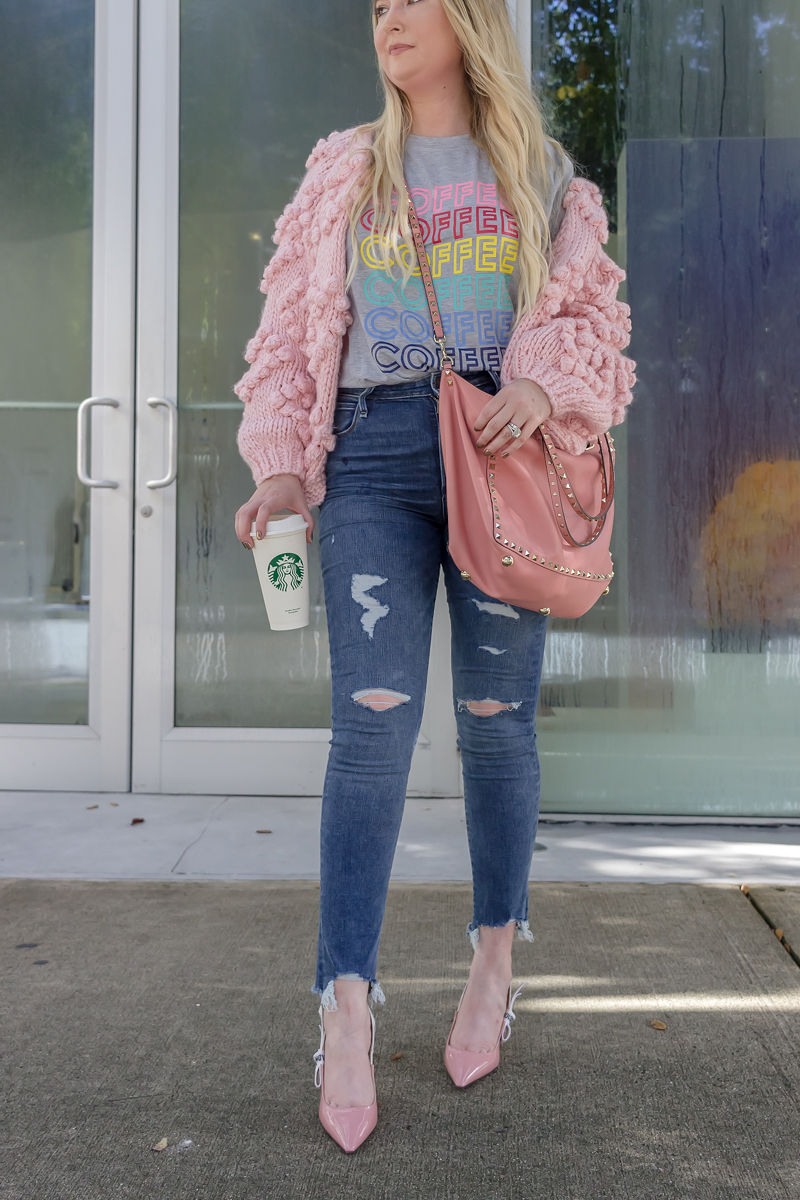 Here Is The BEST Amazon Graphic T-Shirt!, coffee shirt, amazon fashion finds, abercrombie ripped jeans, abercrombie distressed jeans, chicwish pom pom cardigan, chicwish pink cardigan, valentino rockstud tote, jadior pumps, christian dior jadior pumps, pink valentinto tote, pink dior heels