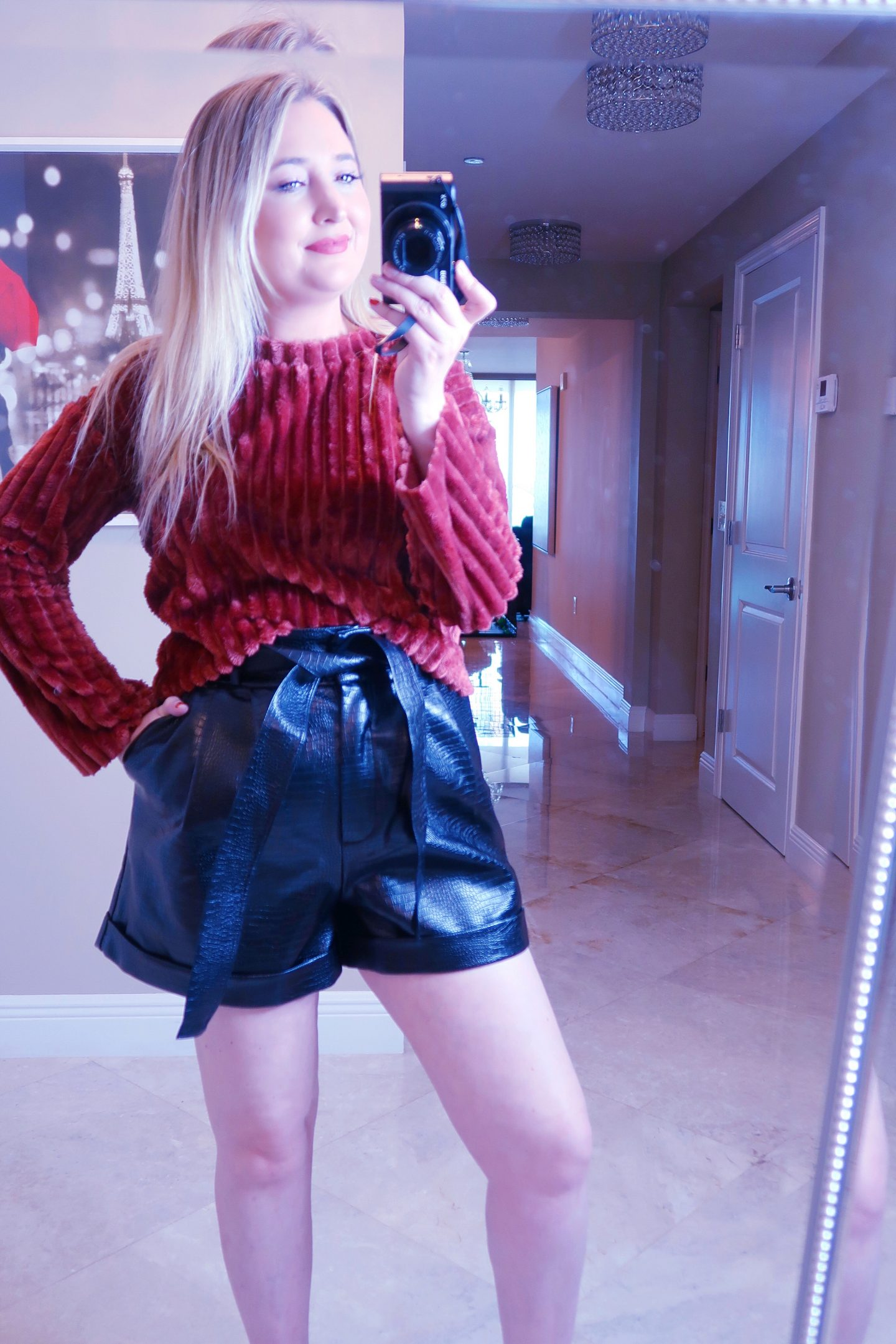 Nordstrom Haul | Everything You Need To Look Good!, nordstrom haul, whats new at nordstrom,, red teddy sweater, faux leather shorts