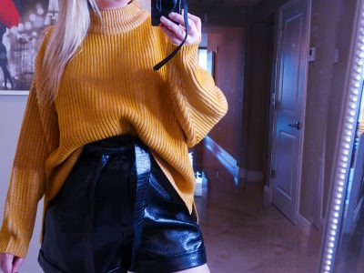 Nordstrom Haul | Everything You Need To Look Good!, nordstrom haul, whats new at nordstrom, yellow sweater, faux leather short, shiny black shorts