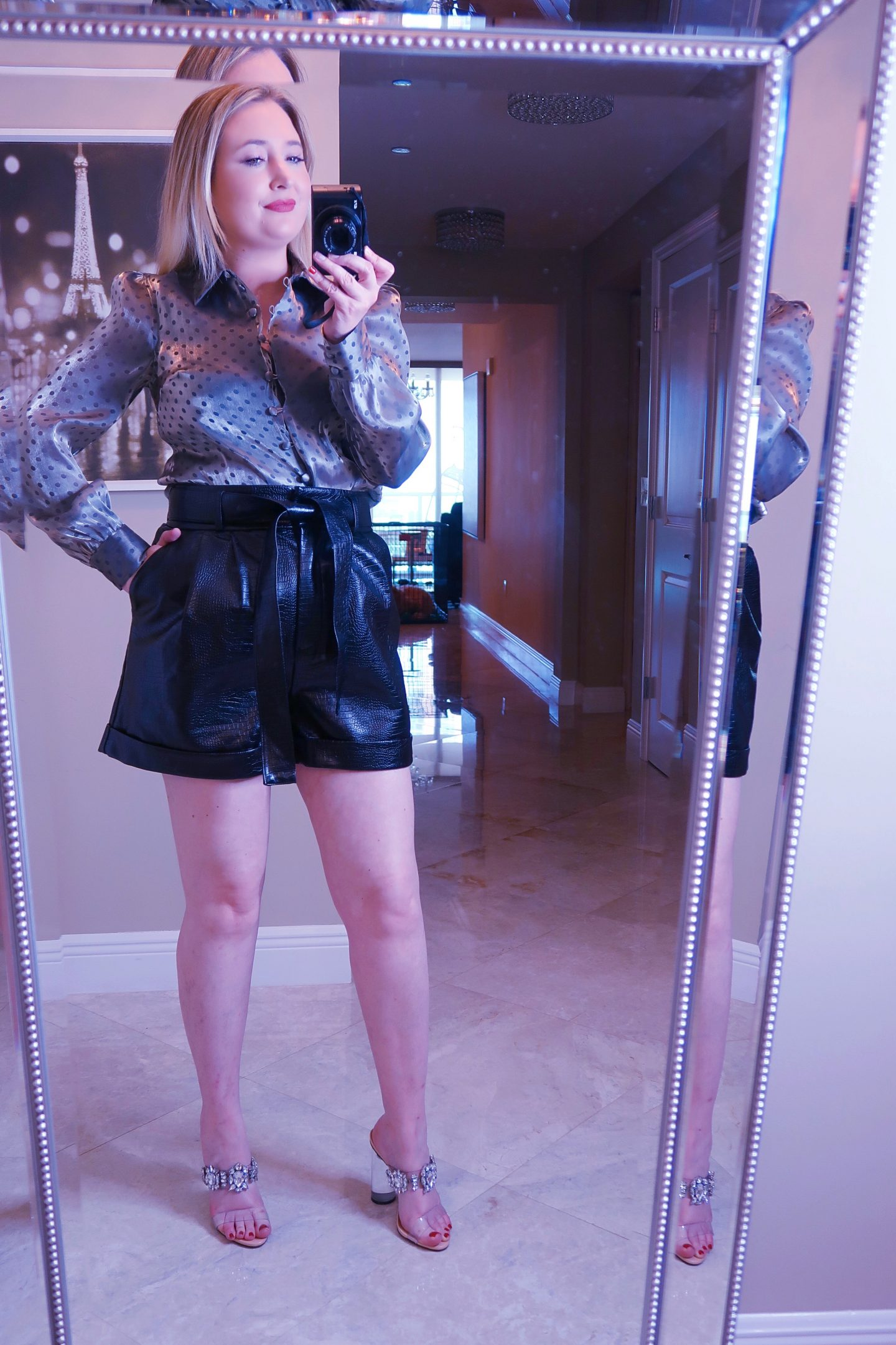 Nordstrom Haul | Everything You Need To Look Good!, nordstrom haul, whats new at nordstrom,, black snakeskin shorts, black faux leather shorts, schutz pvc heels