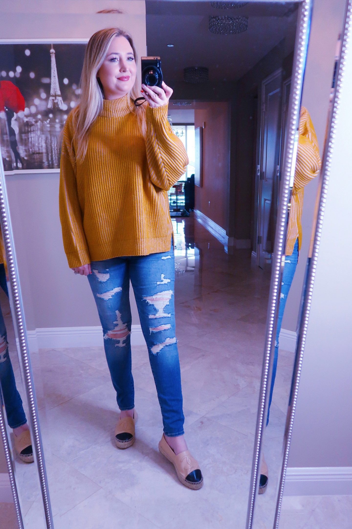 Nordstrom Haul | Everything You Need To Look Good!, nordstrom haul, whats new at nordstrom,, mustard yellow sweater, abercrombie jeans, chanel espadrilles, casual fall outfit