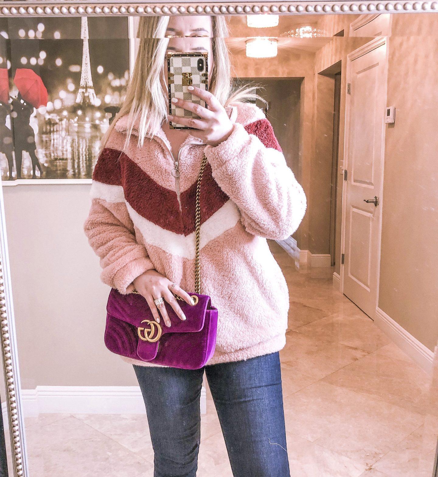 Amazon Fashion Finds 2020, amazon fashion, best amazon items, amazon fashion 2020, amazon sherpa, amazon sweater, pink sherpa, purple gucci marmont