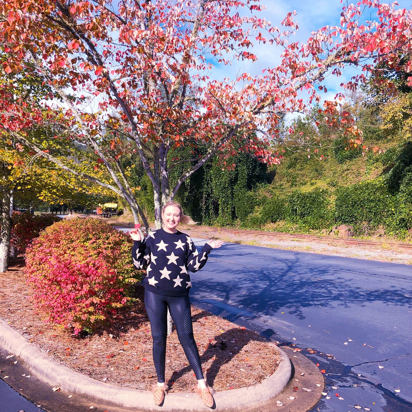 What To Wear In Asheville In Fall,asheville style, asheville fashion, spanx faux leather leggings, chunky fall sweater, superdown sweater, star sweater, golden goose sweater dupe