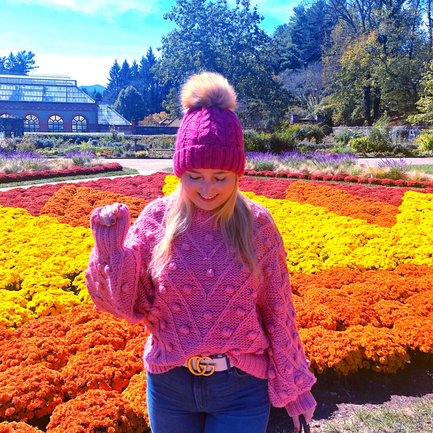 What To Wear In Asheville In Fall, pink pom pom sweater, pink pom pom hat, asheville style, asheville fashion, gucci white belt, gucci marmont belt